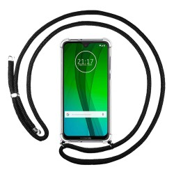Funda Colgante Transparente para Motorola Moto G7 / G7 Plus con Cordon Negro