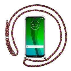 Funda Colgante Transparente para Motorola Moto G7 / G7 Plus con Cordon Rosa / Dorado