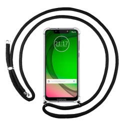 Funda Colgante Transparente para Motorola Moto G7 Play con Cordon Negro