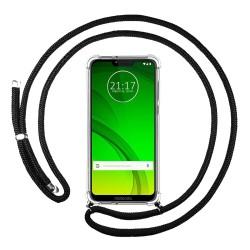 Funda Colgante Transparente para Motorola Moto G7 Power con Cordon Negro