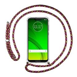 Funda Colgante Transparente para Motorola Moto G7 Power con Cordon Rosa / Dorado