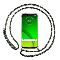 Funda Colgante Transparente para Motorola Moto G7 Power con Cordon Verde / Dorado