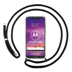 Funda Colgante Transparente para Motorola One con Cordon Negro