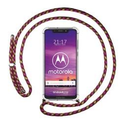 Funda Colgante Transparente para Motorola One con Cordon Rosa / Dorado