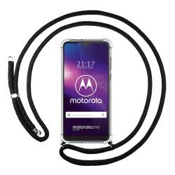 Funda Colgante Transparente para Motorola One Macro con Cordon Negro