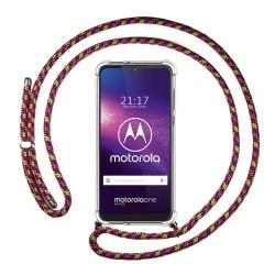 Funda Colgante Transparente para Motorola One Macro con Cordon Rosa / Dorado