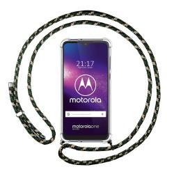 Funda Colgante Transparente para Motorola One Macro con Cordon Verde / Dorado