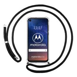 Funda Colgante Transparente para Motorola One Vision con Cordon Negro
