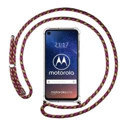 Funda Colgante Transparente para Motorola One Vision con Cordon Rosa / Dorado