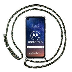 Funda Colgante Transparente para Motorola One Vision con Cordon Verde / Dorado