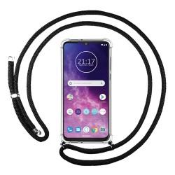 Funda Colgante Transparente para Motorola One Zoom con Cordon Negro