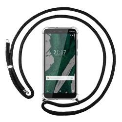 Funda Colgante Transparente para Nokia 1 Plus con Cordon Negro