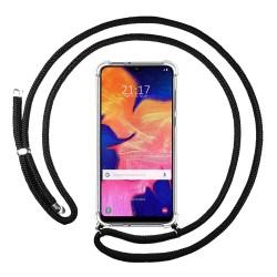 Funda Colgante Transparente para Samsung Galaxy A10 con Cordon Negro