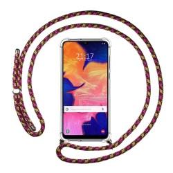 Funda Colgante Transparente para Samsung Galaxy A10 con Cordon Rosa / Dorado