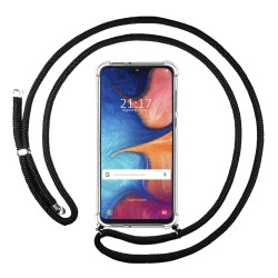 Funda Colgante Transparente para Samsung Galaxy A20e 5.8 con Cordon Negro