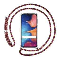 Funda Colgante Transparente para Samsung Galaxy A20e 5.8 con Cordon Rosa / Dorado