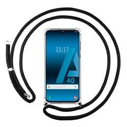 Funda Colgante Transparente para Samsung Galaxy A40 con Cordon Negro