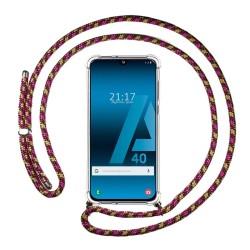Funda Colgante Transparente para Samsung Galaxy A40 con Cordon Rosa / Dorado