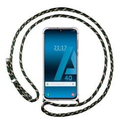 Funda Colgante Transparente para Samsung Galaxy A40 con Cordon Verde / Dorado