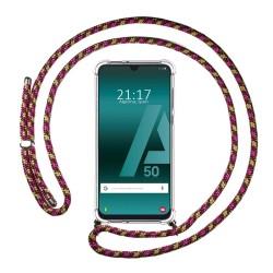 Funda Colgante Transparente para Samsung Galaxy A50 / A50 / A30s con Cordon Rosa / Dorado