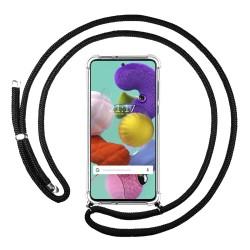 Funda Colgante Transparente para Samsung Galaxy A51 con Cordon Negro