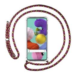 Funda Colgante Transparente para Samsung Galaxy A51 con Cordon Rosa / Dorado