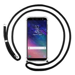 Funda Colgante Transparente para Samsung Galaxy A6 Plus (2018) con Cordon Negro