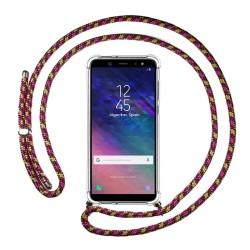 Funda Colgante Transparente para Samsung Galaxy A6 Plus (2018) con Cordon Rosa / Dorado