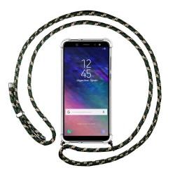 Funda Colgante Transparente para Samsung Galaxy A6 Plus (2018) con Cordon Verde / Dorado