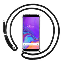 Funda Colgante Transparente para Samsung Galaxy A7 (2018) con Cordon Negro