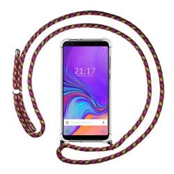 Funda Colgante Transparente para Samsung Galaxy A7 (2018) con Cordon Rosa / Dorado