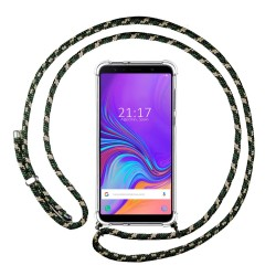 Funda Colgante Transparente para Samsung Galaxy A7 (2018) con Cordon Verde / Dorado