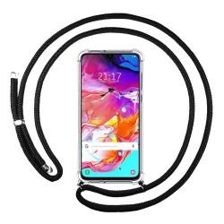 Funda Colgante Transparente para Samsung Galaxy A70 con Cordon Negro