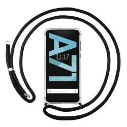 Funda Colgante Transparente para Samsung Galaxy A71 con Cordon Negro