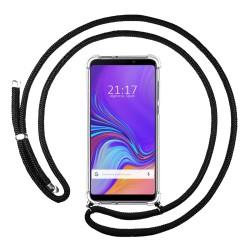Funda Colgante Transparente para Samsung Galaxy A9 (2018) con Cordon Negro