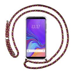 Funda Colgante Transparente para Samsung Galaxy A9 (2018) con Cordon Rosa / Dorado