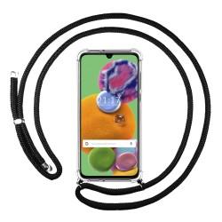 Funda Colgante Transparente para Samsung Galaxy A90 5G con Cordon Negro
