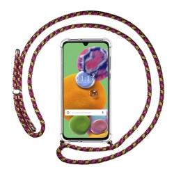 Funda Colgante Transparente para Samsung Galaxy A90 5G con Cordon Rosa / Dorado