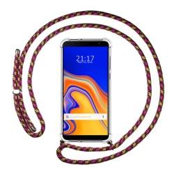 Funda Colgante Transparente para Samsung Galaxy J4+ Plus con Cordon Rosa / Dorado