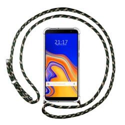 Funda Colgante Transparente para Samsung Galaxy J4+ Plus con Cordon Verde / Dorado