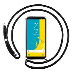 Funda Colgante Transparente para Samsung Galaxy J6 (2018) con Cordon Negro