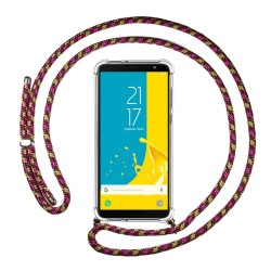 Funda Colgante Transparente para Samsung Galaxy J6 (2018) con Cordon Rosa / Dorado