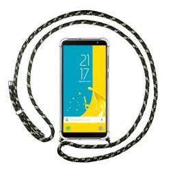 Funda Colgante Transparente para Samsung Galaxy J6 (2018) con Cordon Verde / Dorado