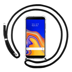 Funda Colgante Transparente para Samsung Galaxy J6+ Plus con Cordon Negro