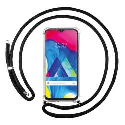 Funda Colgante Transparente para Samsung Galaxy M10 con Cordon Negro