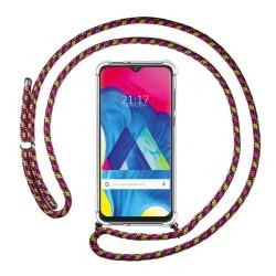 Funda Colgante Transparente para Samsung Galaxy M10 con Cordon Rosa / Dorado