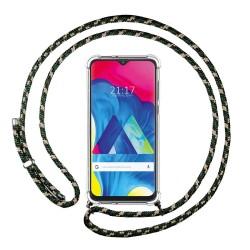 Funda Colgante Transparente para Samsung Galaxy M10 con Cordon Verde / Dorado