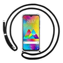 Funda Colgante Transparente para Samsung Galaxy M20 con Cordon Negro