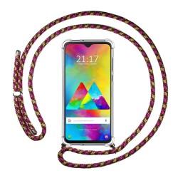 Funda Colgante Transparente para Samsung Galaxy M20 con Cordon Rosa / Dorado