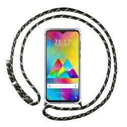 Funda Colgante Transparente para Samsung Galaxy M20 con Cordon Verde / Dorado